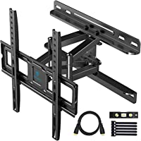PERLESMITH TV Wall Mount Full Motion for Most 32-55 Inch Flat Curved TVs with Swivels, Tilts & Extends, Dual Articulating Arms Wall Mount TV Bracket Supports TV up to 99 lbs, Max VESA 400x400