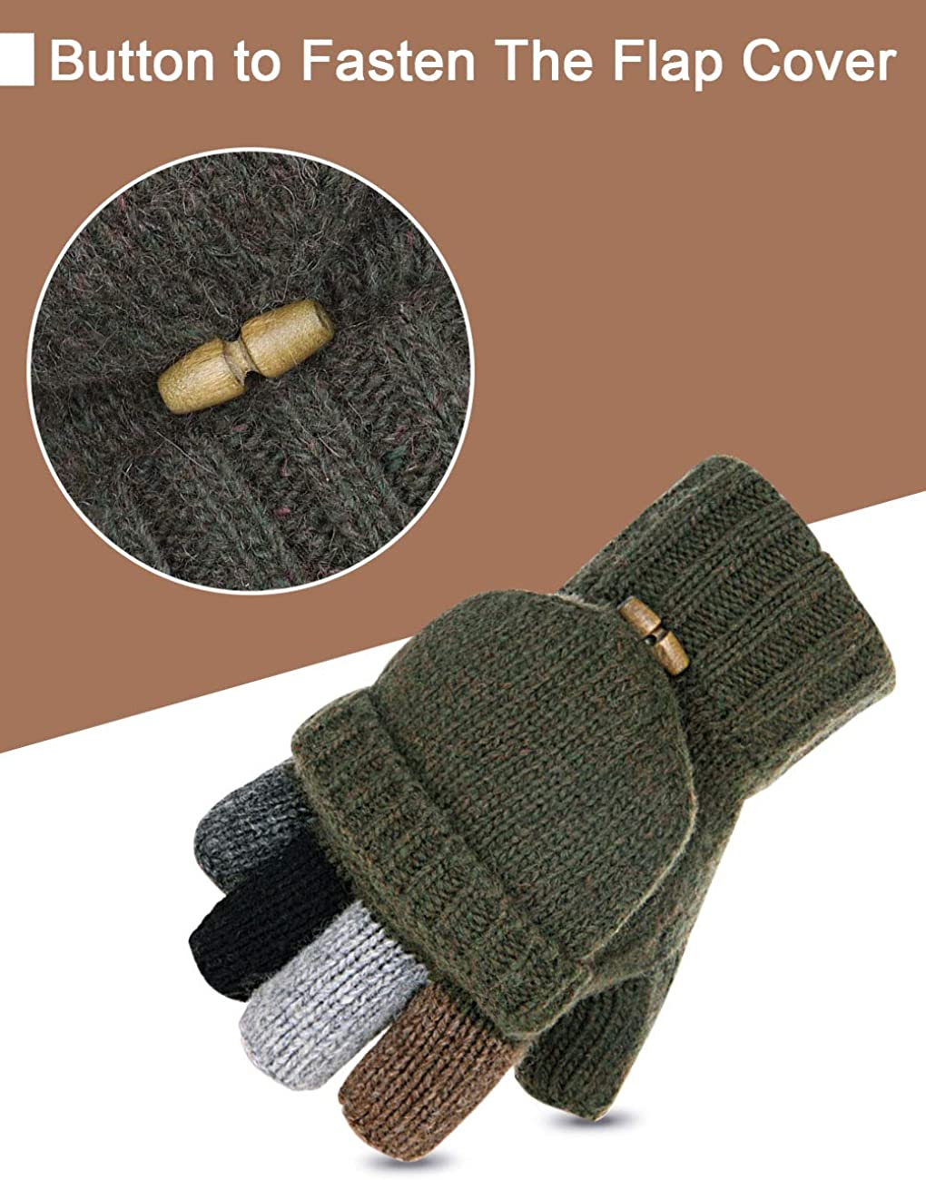 Petrunup Winter Wool Blended Knit Fingerless Gloves Half Finger Mittens with Fleece Lining for Mens /& Womens Driving