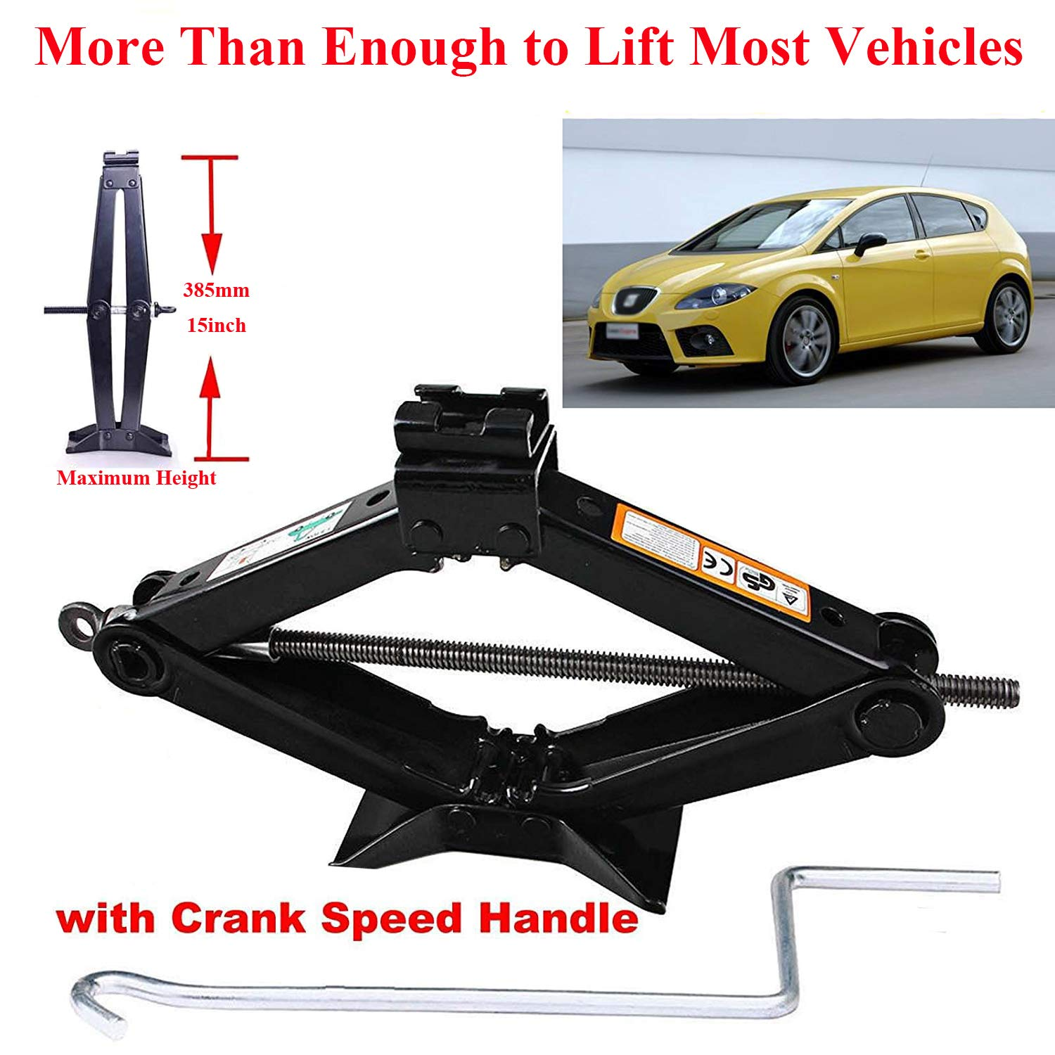 4.2-15 Inch //for Audi A3 A4 A5 Q3 Cars 2 Tonne Rustproof Car Scissor Floor Lift Car Jacks with Speed Chromed Crank Handle for Vauxhall//Corsa//Astra//Zafira//Insignia//Meriva Solid Steel Rust-Proof