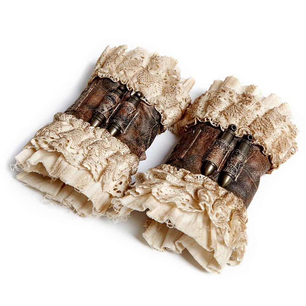 Gothic Steampunk Vintage Coffee Lace Gloves Women Fashion Short Wrist Gloves Arm Warmers