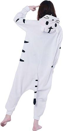 Fandecie Pijama Tigre Blanco, Onesie Modelo Animales para Adulto Entre 1,60 y 1,75 m Kugurumi Unisex.