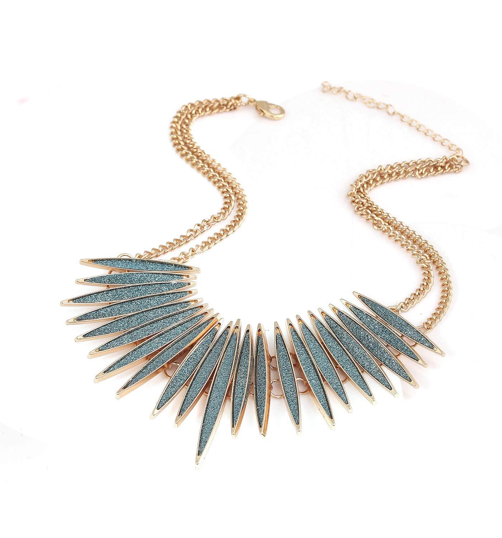 MOLOCH Sparkling Druzy Leaf Choker Necklace Fashion Gold-Tone Collar Necklace Bib Statement Chunky Tribal Necklace Woman Jewelry (Bule) by MOLOCH