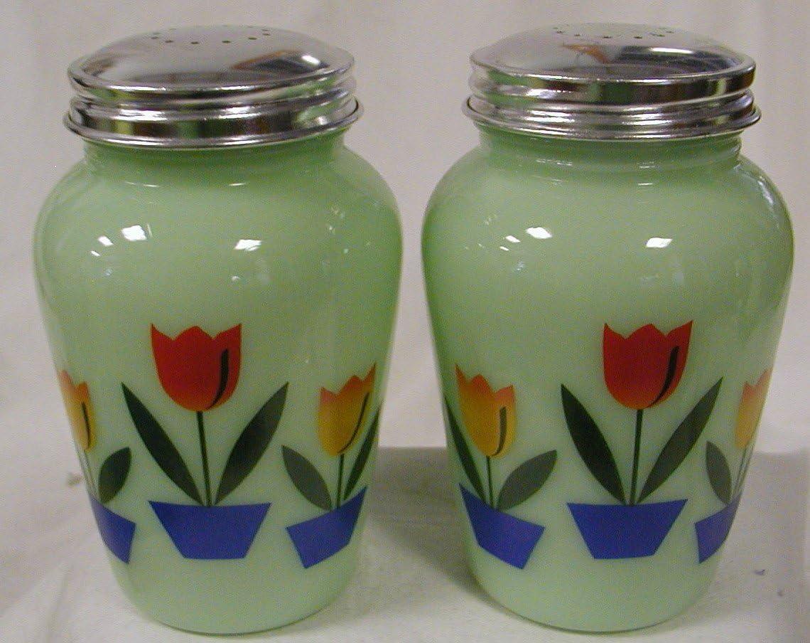 JADEITE GREEN GLASS MULTI-COLOR DUTCH TULIP SALT /& PEPPER SHAKER SET