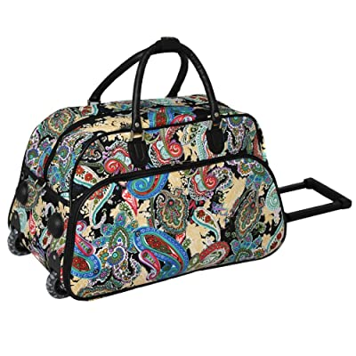 1 Piece Multi Color Paisley Rolling Carry On Duffle Bag, White Red Blue Teal