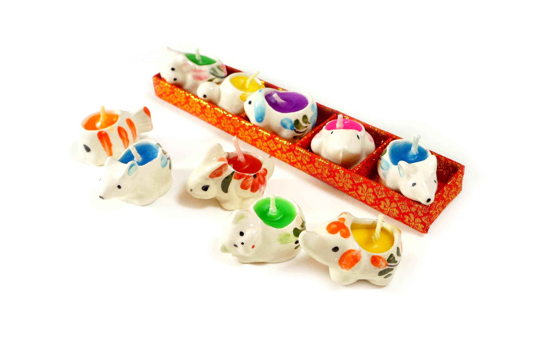 Animal Tealight Candles Seramic Cute Style Gift Set 10 Pcs (Animal mix scent)