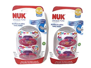 Amazon.com : 4 Nuk Orthodontic Silicone Pacifiers 18-36 mo ...