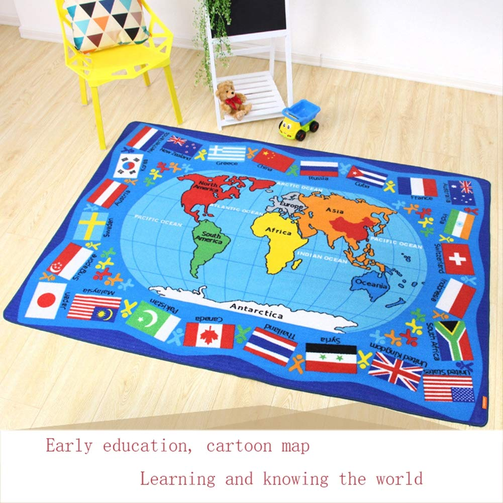 Encounter G Around The World Carpet Soft Toddler Learning Toys Ideal for Children Crawling and Sports Activities Blue Mats Cartoon World Map Mats,WorldMap1,133190CM by Encounter G (Image #4)