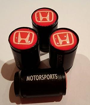 Honda - Juego de 4 tapacubos para válvula de coche de 19 mm, color negro