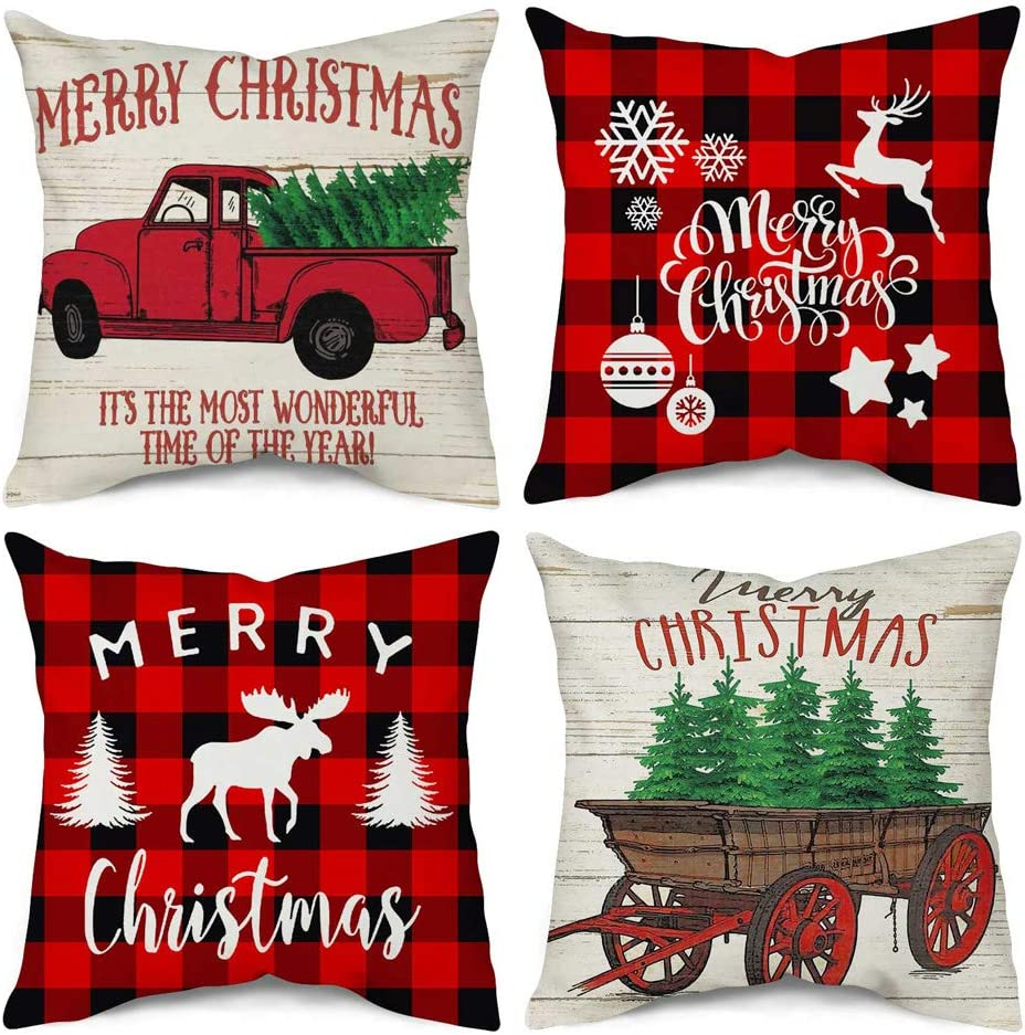 Songtec Christmas Throw Pillow Covers 18x18 Inches, Buffalo and Red Vintage Truck Farmhouse Decorations Outdoor Patio Pillowcases Cushion Home Decor - 4 Pack