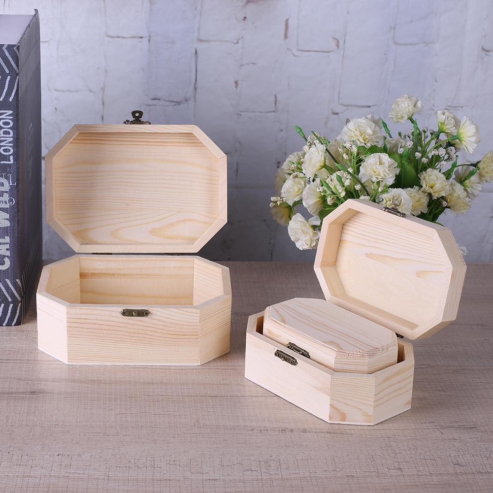 HighPlus 3X Octagonal Wooden Pirate Treasure Chest Wood Storage Decoupage Craft Box by HighPlus (Image #3)