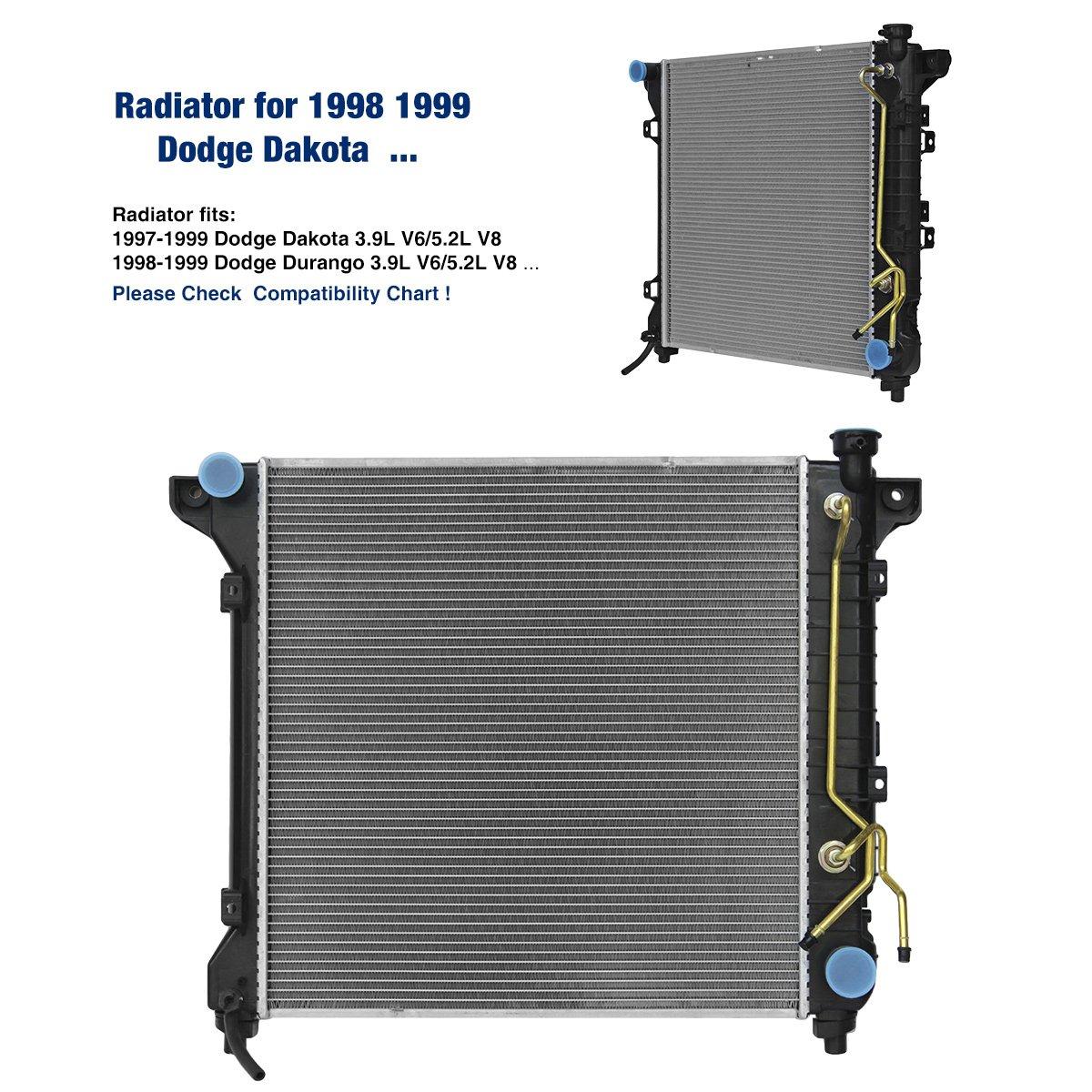Radiator For Dodge 1997 1999 Dakota 39l V6 52l V8 1998 98 Blower Wiring Diagram Durango 2000 Automotive