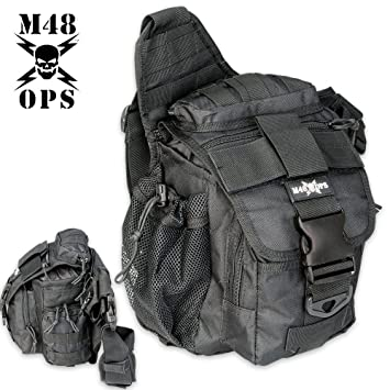 Amazon.com : M48 OPS Tactical Waist Sling Bag - Messenger - Black ...