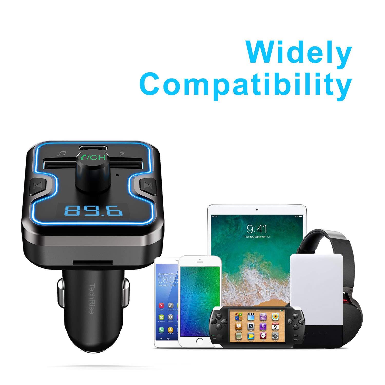 Modo EQ USB QC3.0 2.4 A Puertos USB duales para el Coche TechRise Adaptador de Radio para Coche con Pantalla a Color de 1,8 Pulgadas Transmisor FM Bluetooth Coche Aux Reproductor de MP3