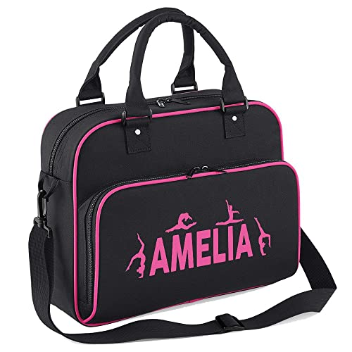 iClobber Girls Personalised Gymnastics Kids Dance Bag Sports Kit Bag-Black c71fce53774b6