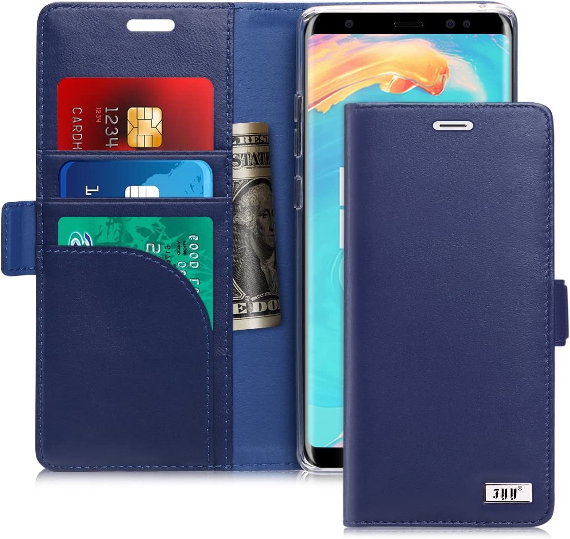 FYY [Genuine Leather] Wallet Case for Samsung Galaxy Note 8 2017, Handmade Flip Folio Wallet Case with Kickstand Card Slots Magnetic Closure for Samsung Galaxy Note 8 2017 Navy
