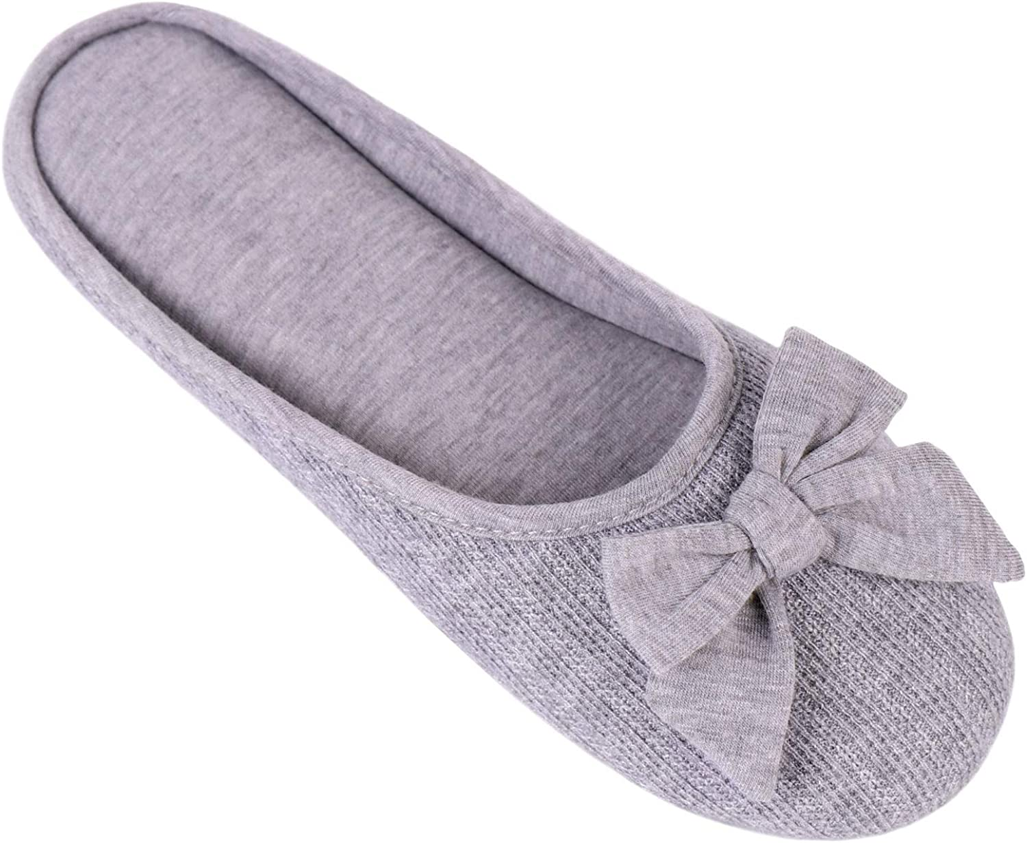 HomeTop Women's Cozy Cashmere Cotton Closed Toe House Slippers with Cute Bow Accent