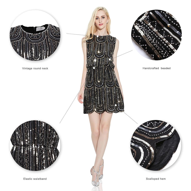 EXLURA Damen Kleider Vintage Cocktail Party Kleid 1920er Gatsby Stil ...