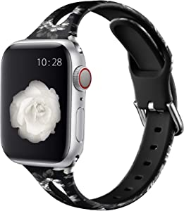Henva Compatible with Apple Watch Band SE 40mm 38mm for Women Men, Soft Silicone Narrow Replacement Thin Cute Strap with Fadeless Print Pattern for iWatch 6/5/4/3/2/1, Black Flower