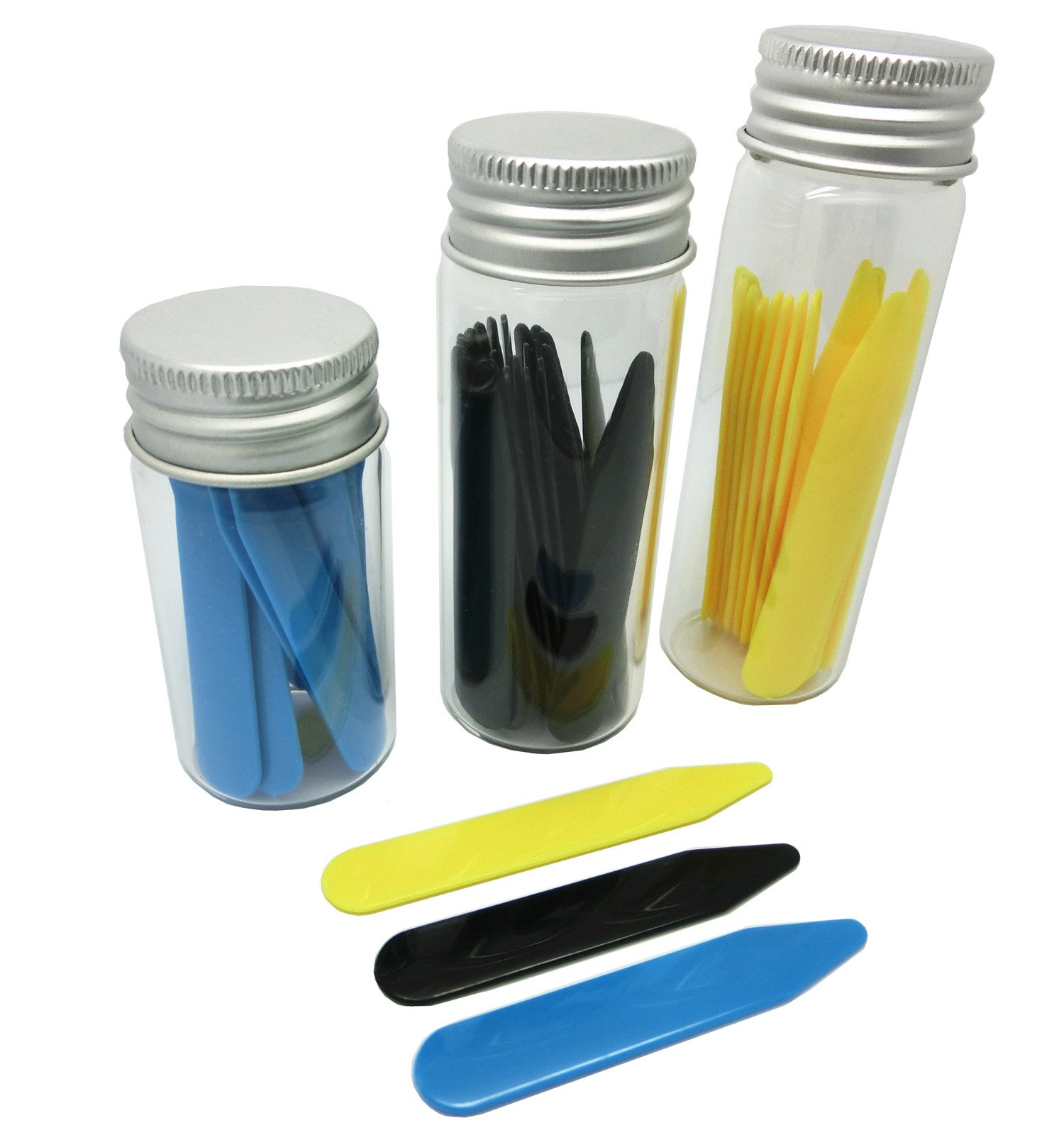 Shang Zun 48 Pcs 3 Colors Plastic Collar Stays in 3 Glass Bottles, 2''/2.2''/2.5''
