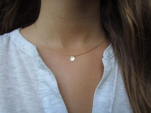 Hammered Necklace for Women Gold Filled Pendent Gold Everyday Necklace Gold Simple Necklace Gold Dainty Necklace Gold Delicate Necklace