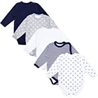 TupTam Baby Unisex Langarm Wickelbody Print/Uni 5er Pack