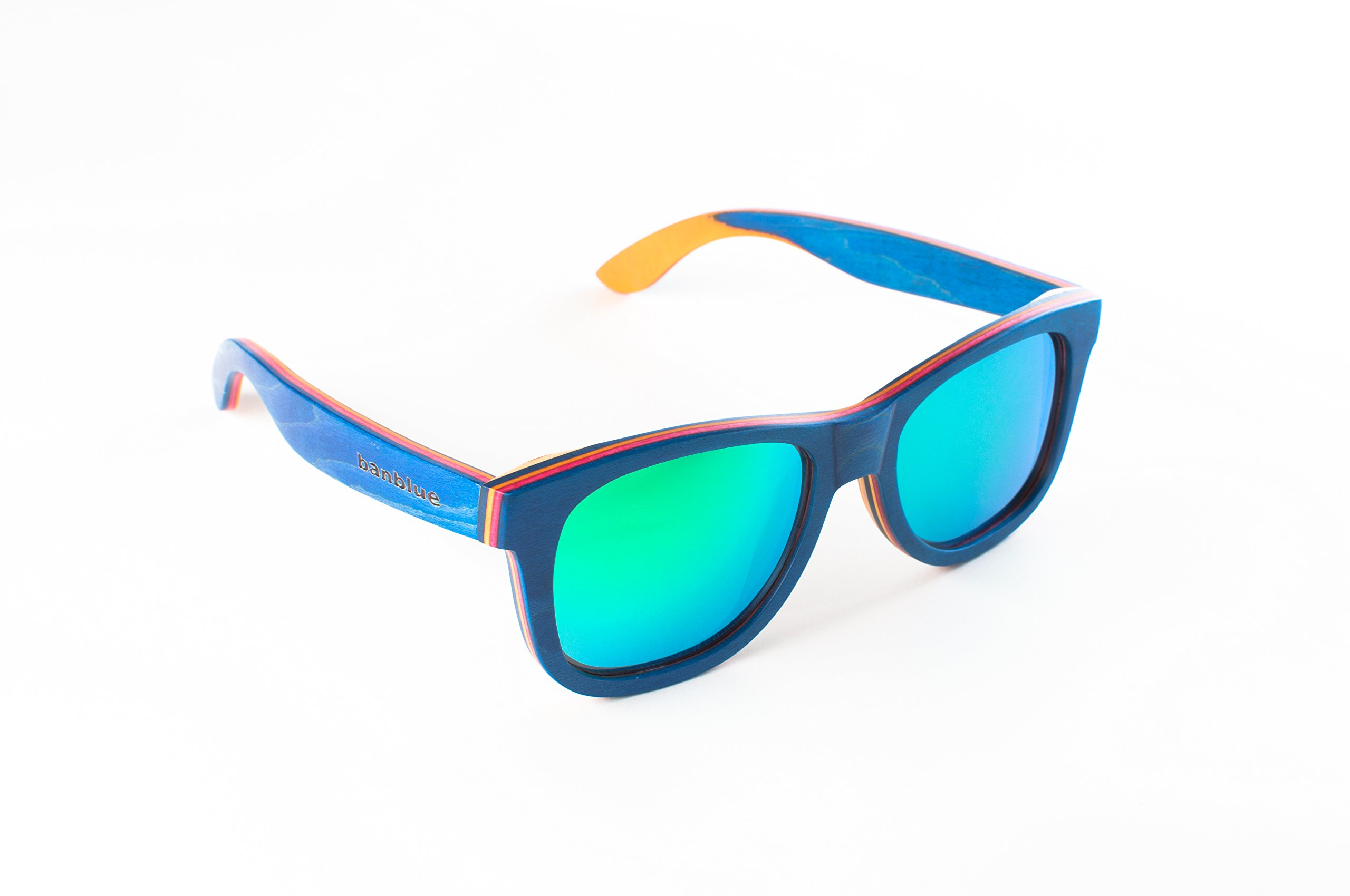 banblue Wooden Sunglasses Inspired by Skateboard (Blue, Green)