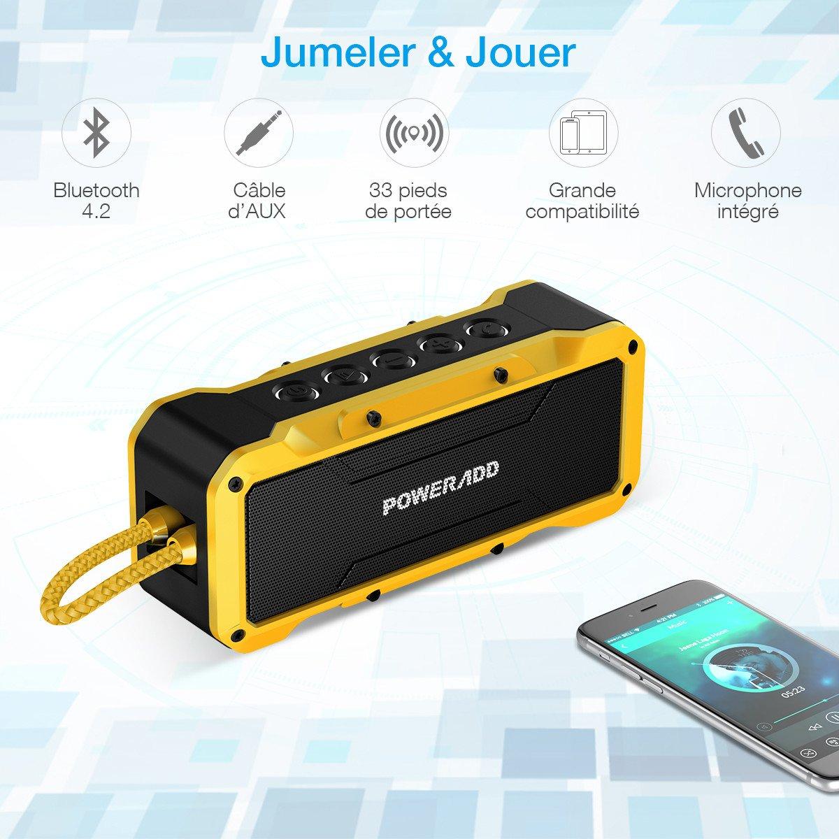 POWERADD Enceinte Bluetooth Etanche Haut Parleur Portable Basse Perfomante Niveau Imperméable IPX7 Connexion Sans Fil et Câble AUX avec Fonction Main Libre, Compatiblité Universelle...