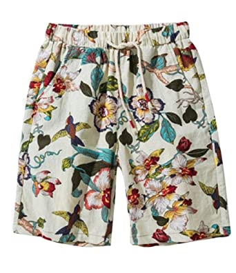 6e2b10bfb6 Huateng Men's Fashion Floral Print Quick Dry Board Shorts Drawstring Summer  Casual Beach Shorts Swim Trunks: Amazon.co.uk: Clothing