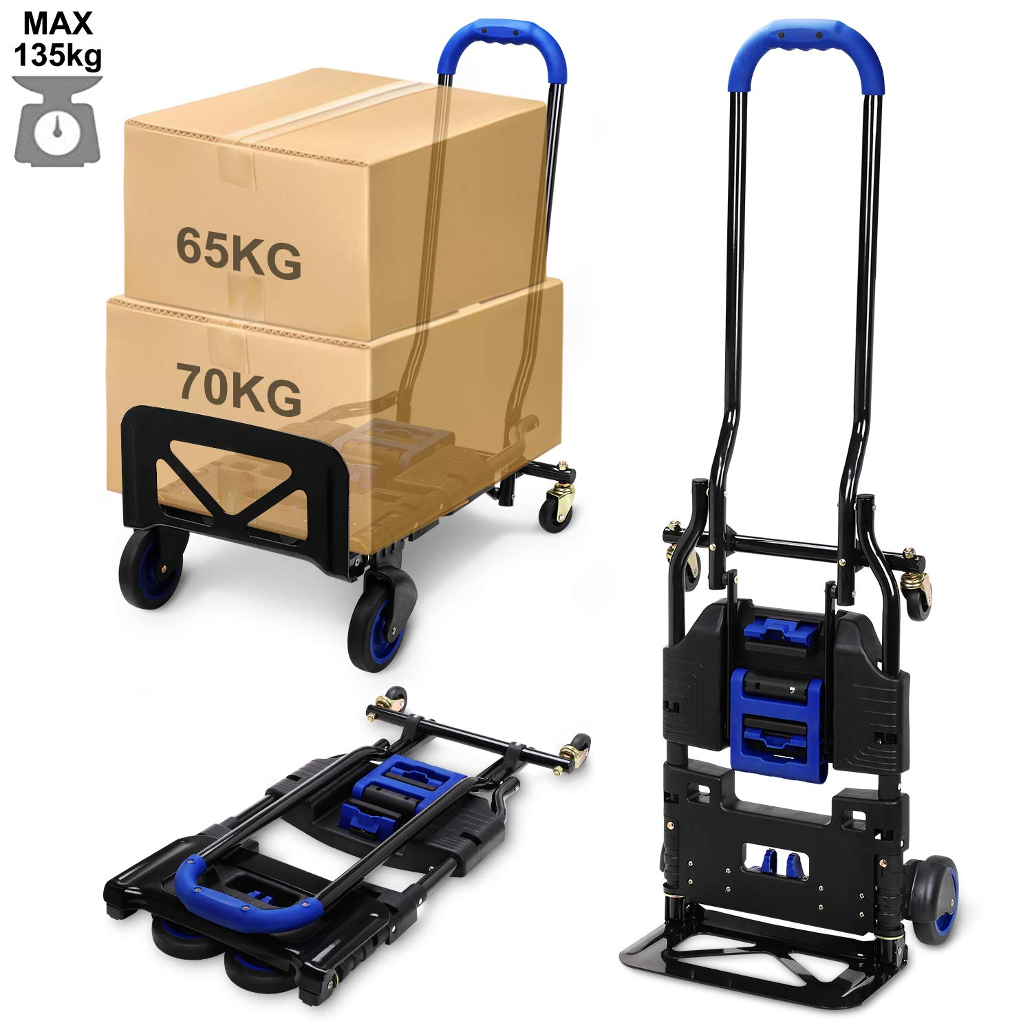360/° 4-Wheel Popolic Folding Hand Truck Super Load 135kg//300lb Multi Function Handcart /& Sack Cart Trolley 2IN1 Heavy Duty Metal Industrial Sack Truck Dolly for Indoor Outdoor Travel Grocery