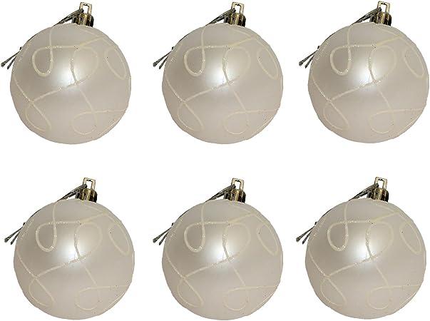 GUIRMA Pack 6 Bolas Navidad 60 mm, Blanco: Amazon.es: Hogar