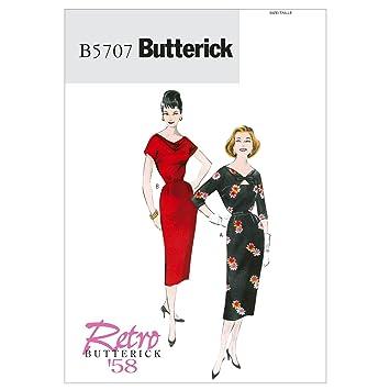 Butterick Schnittmuster 5707 A5 Retro Damen Kleid,Dress,Habiller Gr ...