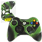 Assecure Camouflage Green Army Silicone Skin Protective Cover Xbox 360 Controller Camo Rubber Bumper Case