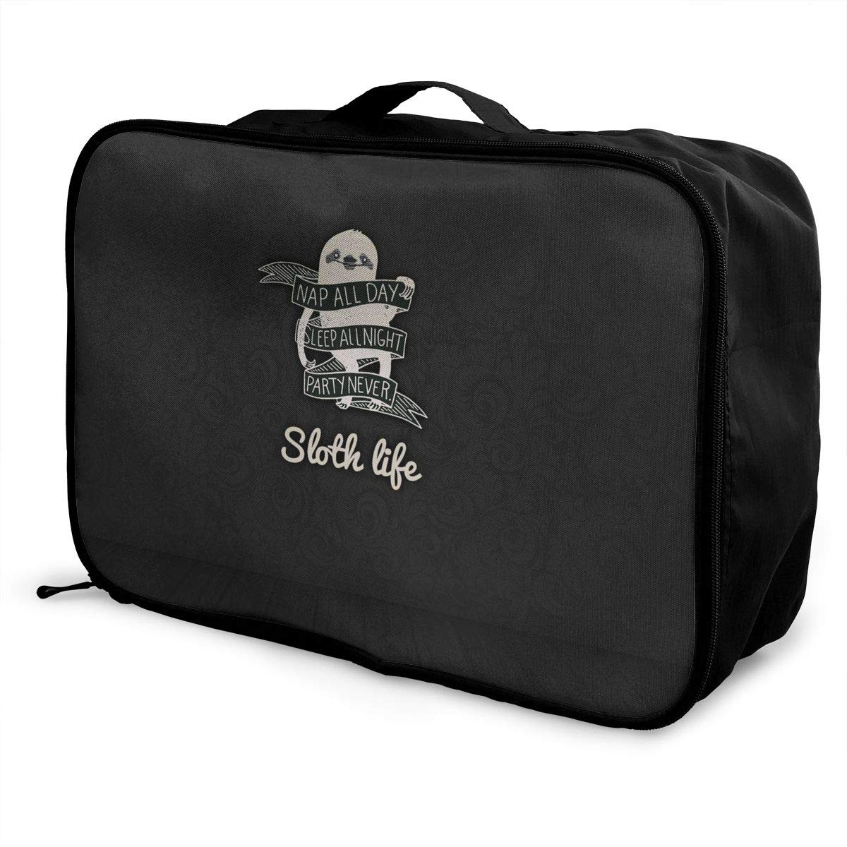 ADGAI Sloth Sleeps All Night Without Going to The Party Canvas Travel Weekender Bag,Fashion Custom Lightweight Large Capacity Portable Luggage Bag,Suitcase Trolley Bag