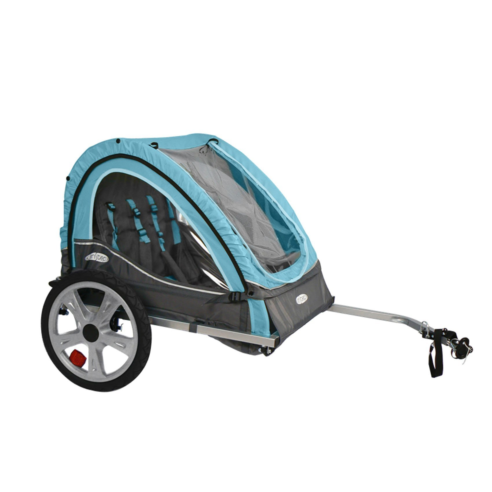 Instep Take 2 Kids/Child Bicycle Trailer, Blue Grey Foldable 2 Passengers (Renewed)