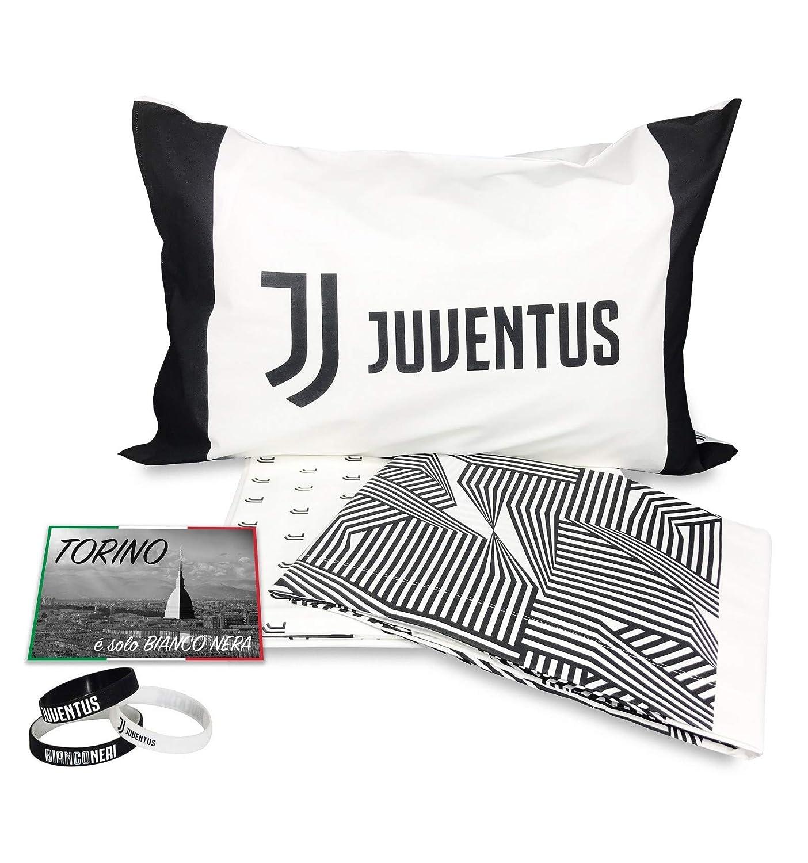 Juventus con Braccialetto e Cartolina in Omaggio tex family Completo Lenzuolo 1 Piazza Singolo Juve Originale F.C
