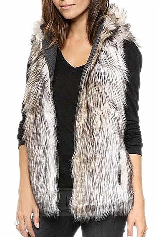 Reinhar Womens Fashion Faux Fur Zip-up Vest Waistcoat Hooded