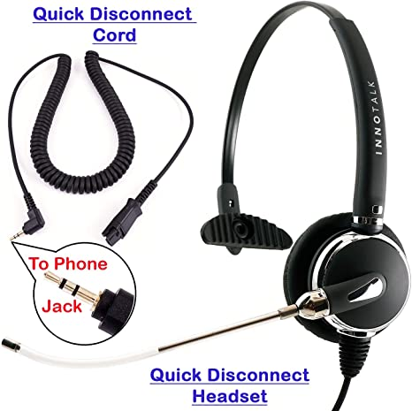 Amazon Com Monaural Phone Headset With Tube Microphone For Panasonic Att Vtech Uniden Grandstream Compatible With Plantronics Qd 2 5 Mm Phone Headset Corded For Call Center Computers Accessories