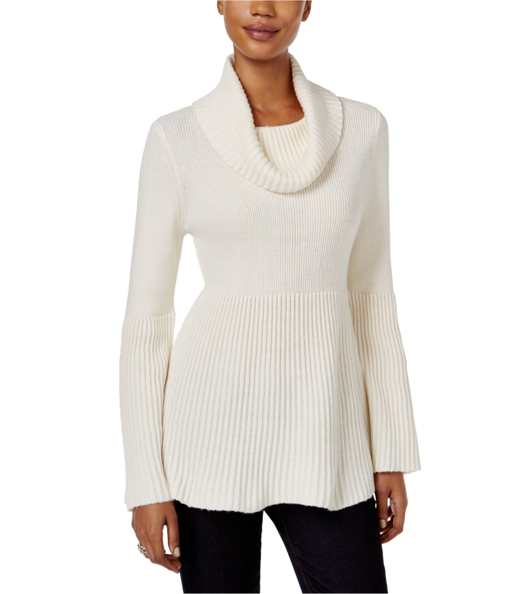 Style & Co. Womens Ribbed Pullover Sweater White PXS - Petite