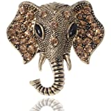 Alilang Silvery Tone Clear Crystal Colored Rhinestones Matte Elephant Crown Brooch Pin