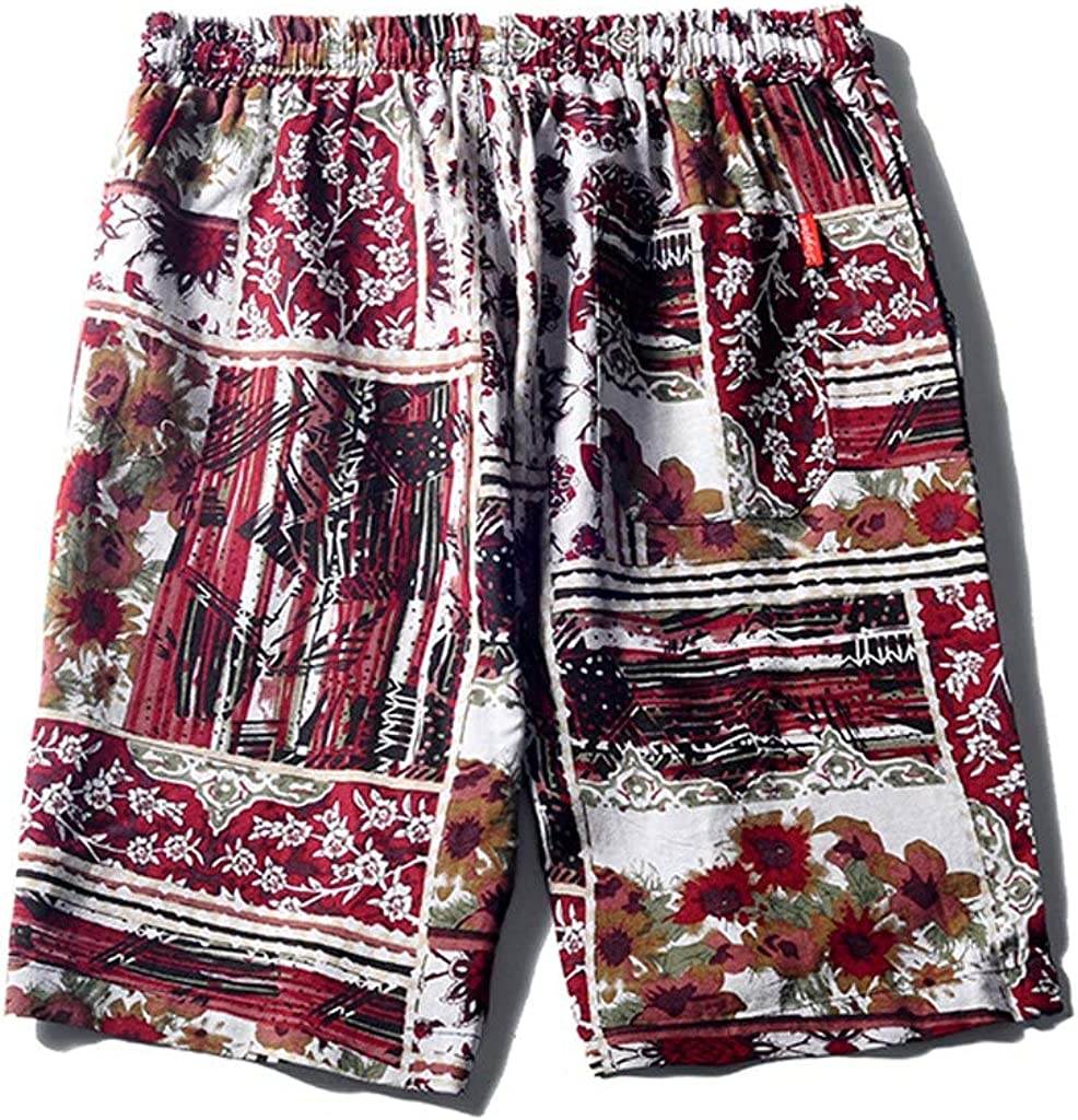 Fabal Mens Linen Shorts Sports Work Casual Printed Beach Shorts Pants Trousers