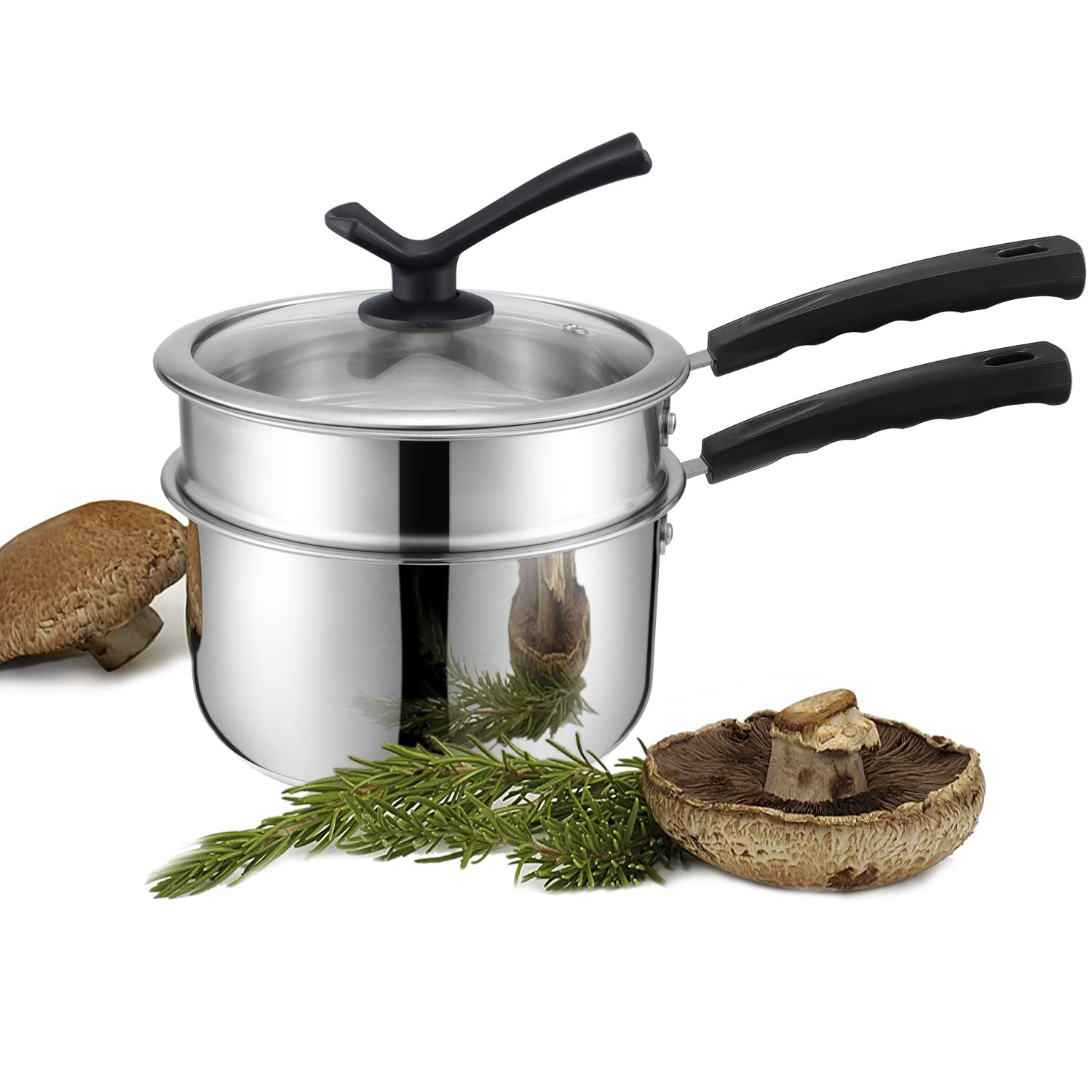 JKsmart Double Boilers&Classic Stainless Steel Non-Stick Saucepan,Melting Pot for Butter,Chocolate,Cheese,Caramel and Bonus with Tempered Glass Lid