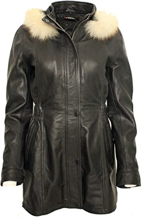 Leather Parka Coat