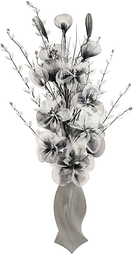 Flourish Large Floor Vase With Artificial Flowers Grey Black And White 1 3m Amazon Co Uk Kitchen Home