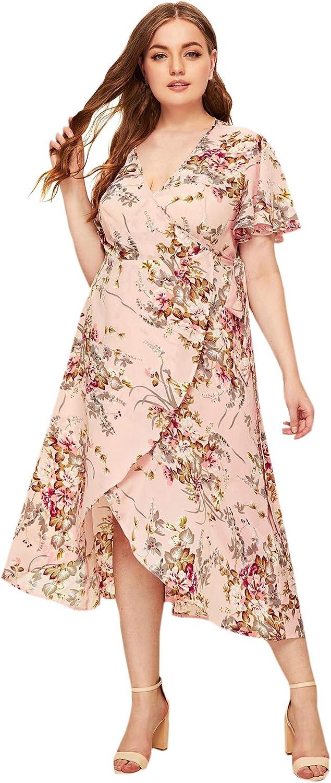 Milumia Women Plus Size Wrap V Neck Floral Boho Summer Maxi Party Dress