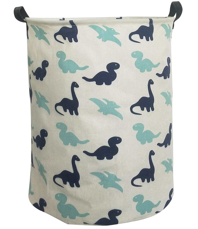 ESSME Laundry Hamper,Collapsible Canvas Waterproof Storage Bin for Kids, Nursery Hamper,Gift Baskets,Home Organizer (Dinosaur)