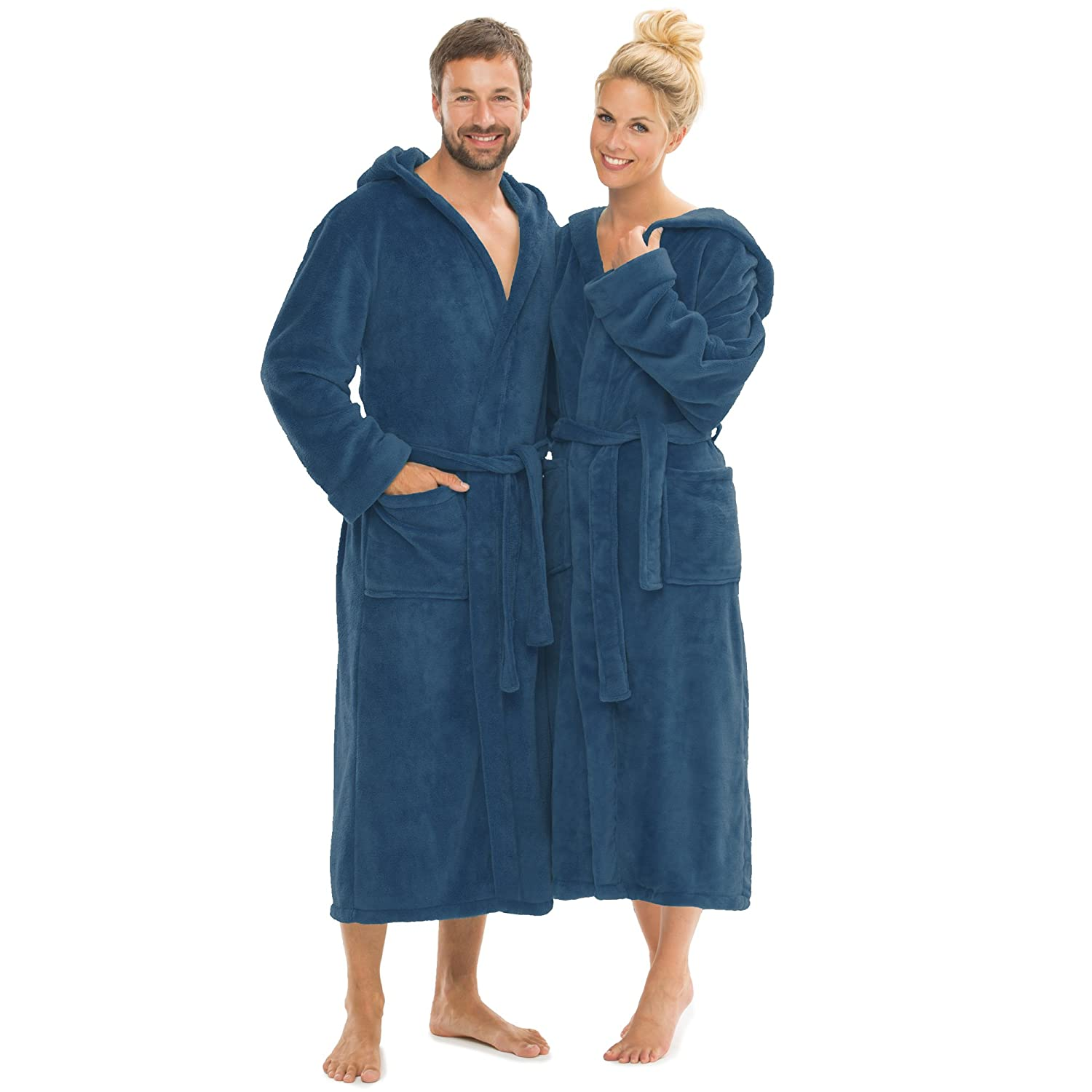 CelinaTex Hooded bathrobe, women and men's cuddly robe, soft and super fluffy, coral fleece saunas, hooded, swimwear, Microfibre, Black, S CEMTF 5000465