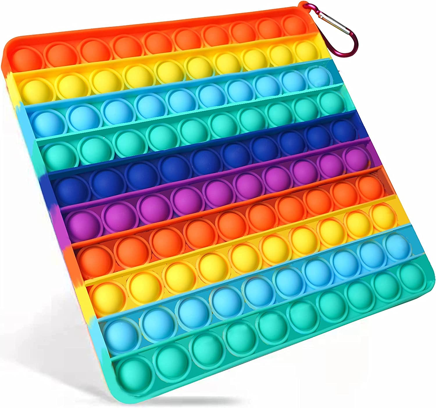 Big Size Push Pop Bubble Sensory Fidget Toys,100 Bubbles Stress Reliever Silicone Pressure Relieving Toy,for Kids Autism and Adult Anxiety Easy to Grasp Pop Silicone Toy (8 Inch,Rainbow,Square)