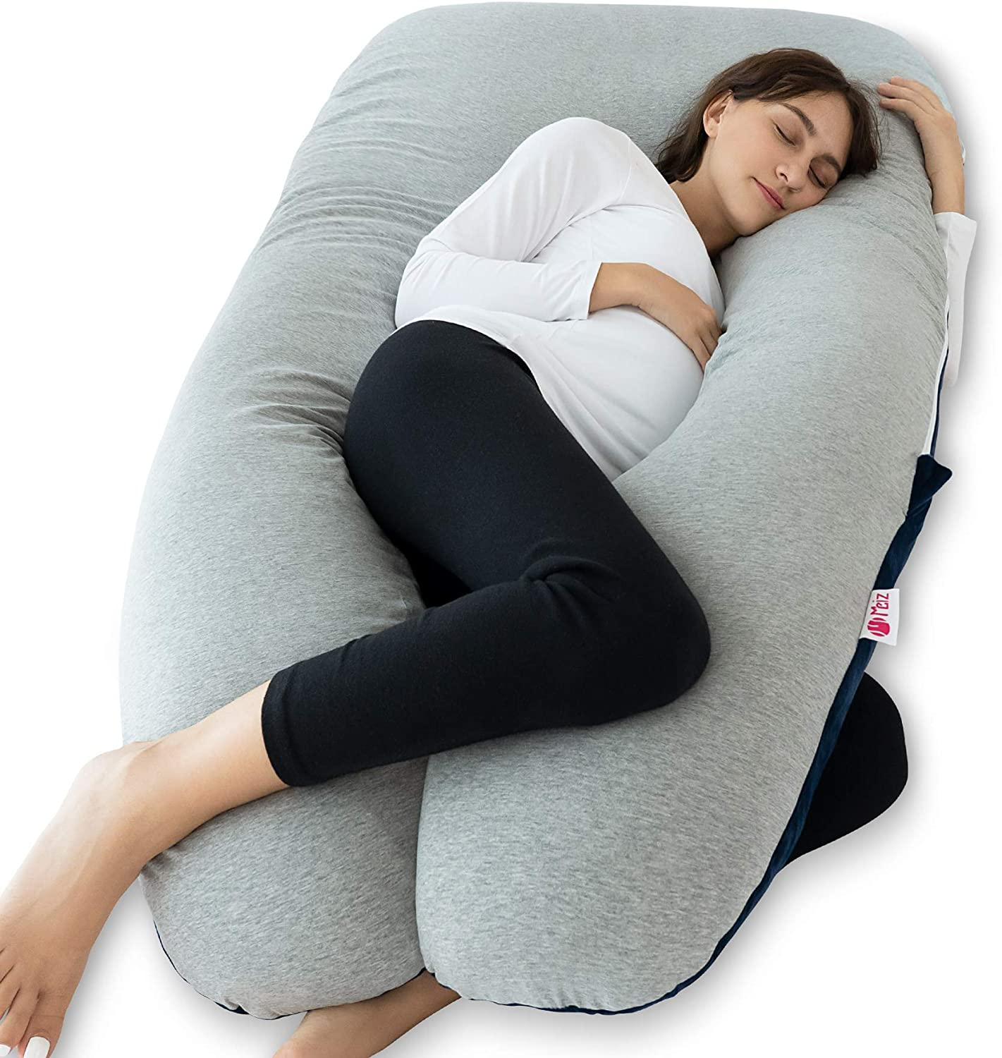 B075TZB1VY Meiz Pregnancy Pillow with Jersey Cover, Full Body Pregnancy Pillow with Velvet Cover, U Shaped Body Pillow for Pregnant Women, Maternity Pillow for Side Sleeping and Back Support, Blue & Grey 71vVHGfQNsL
