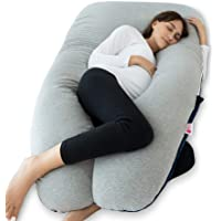 Meiz Pregnancy Pillow with Jersey Cover, Full Body Pregnancy Pillow with Velvet Cover, U Shaped Body Pillow for Pregnant Women, Maternity Pillow for Side Sleeping and Back Support, Blue & Grey