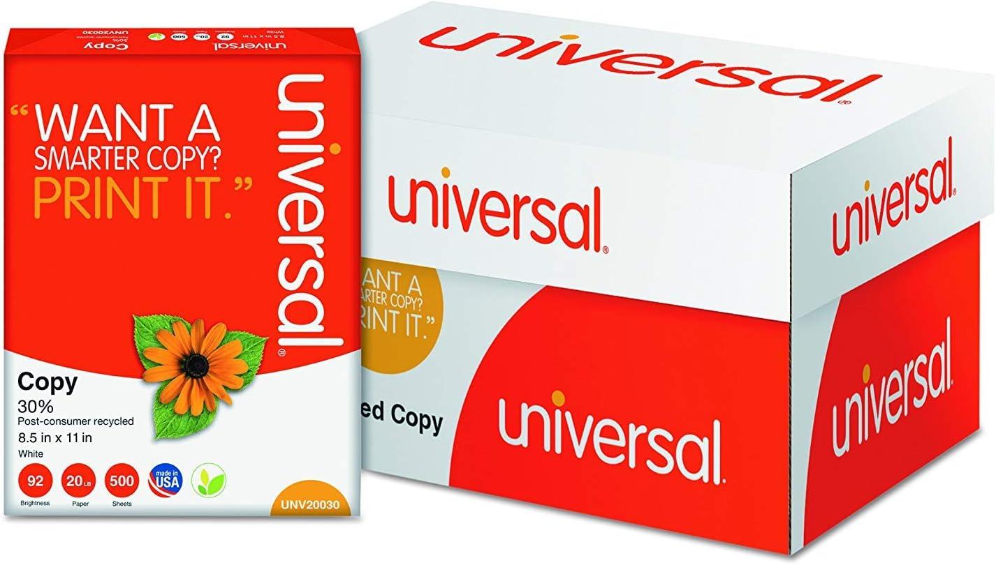 Papel de copia universal 30% reciclado, 92 brillante, 20 lb, 8,5 x 11, blanco, 500 hojas/resma, 10 resmas/cartón, 40 cartones/palé (caja de 200.000 hojas): Amazon.es: Oficina y papelería